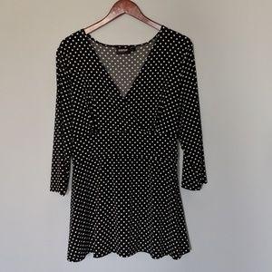 Avenue Plus Black & White Tie Blouse